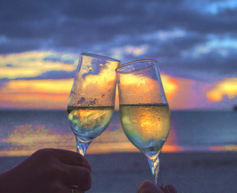 Drink champagne at the beach